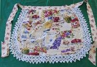Round Waist Apron- Floral with Hand Crocheted Lace