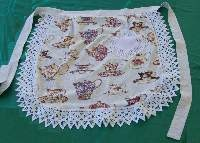 Round Waist Apron- Teacups with Hand Crocheted Lace and pocket