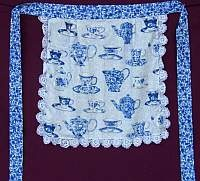 Square Waist Apron- Teacups with Hand Crocheted Lace and pocket