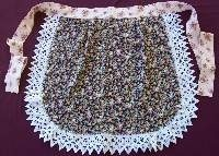 Round Waist Apron- Floral with Battenburg Lace