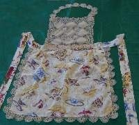 Square Bibbed Apron- Teacups with Battenburg Lace