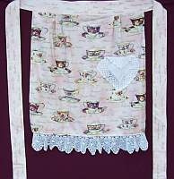 Square Waist Apron- Teacups with Battenburg Lace and pocket